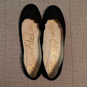 Sam Edelman black suede flats with scalloped toe